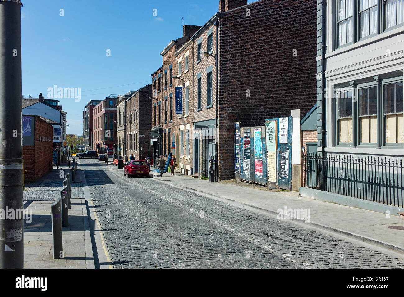 Looking towards Baltic Triangle area of Liverpool from Bold Street area - Stock Image