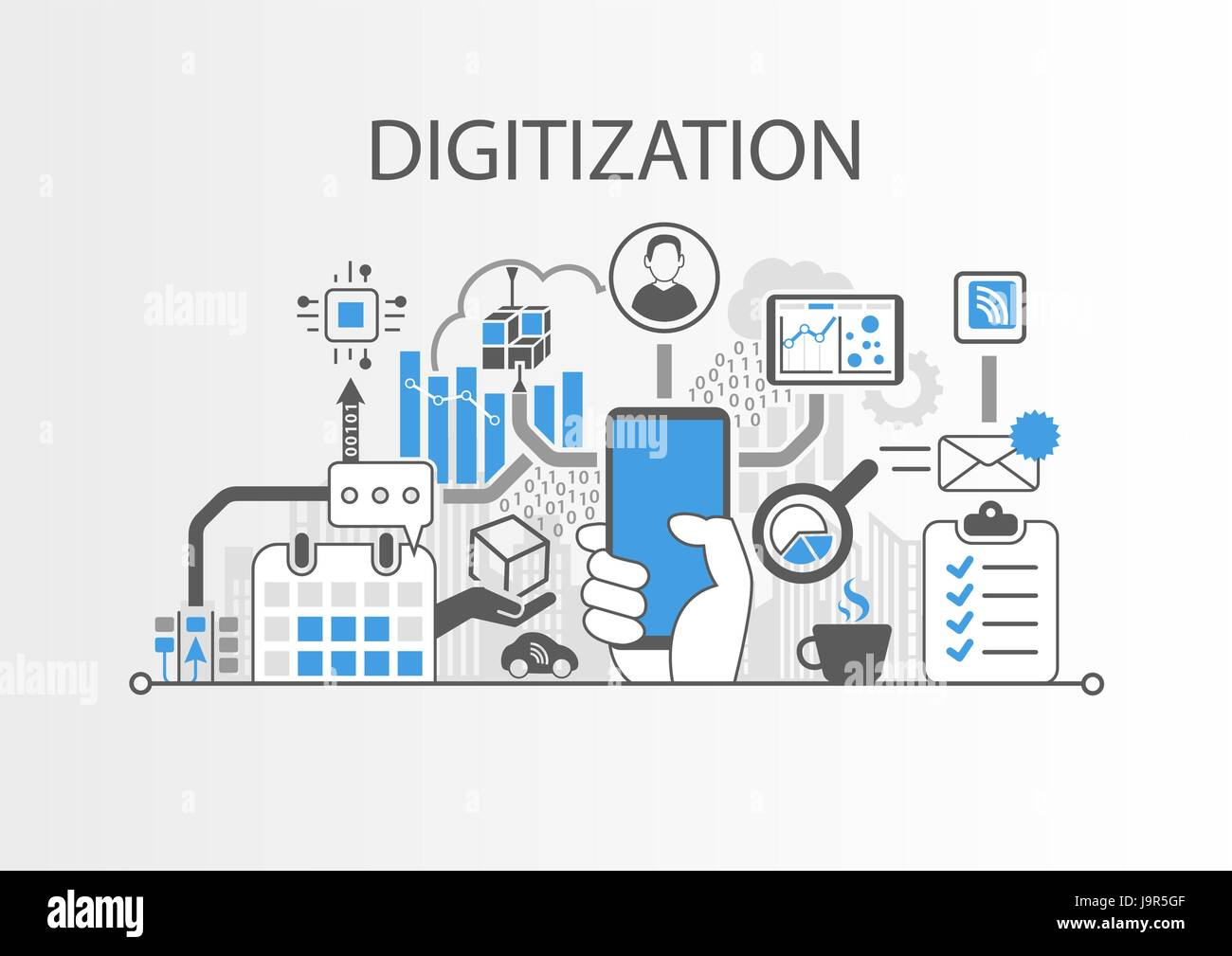 Digitization concept as background vector illustration - Stock Vector