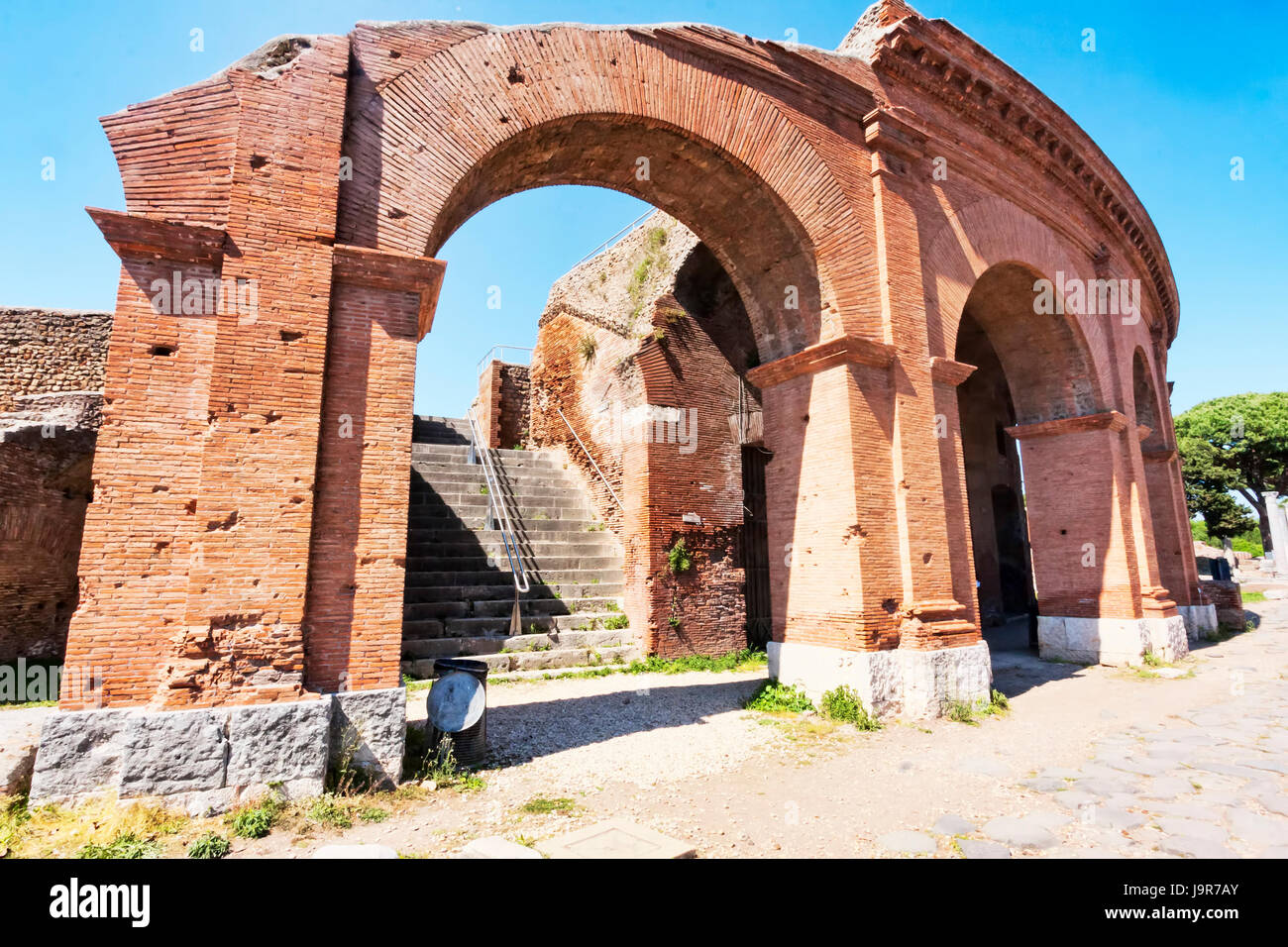 Archaeological Roman site landscape in Ostia Antica - Rome - Italy Stock Photo