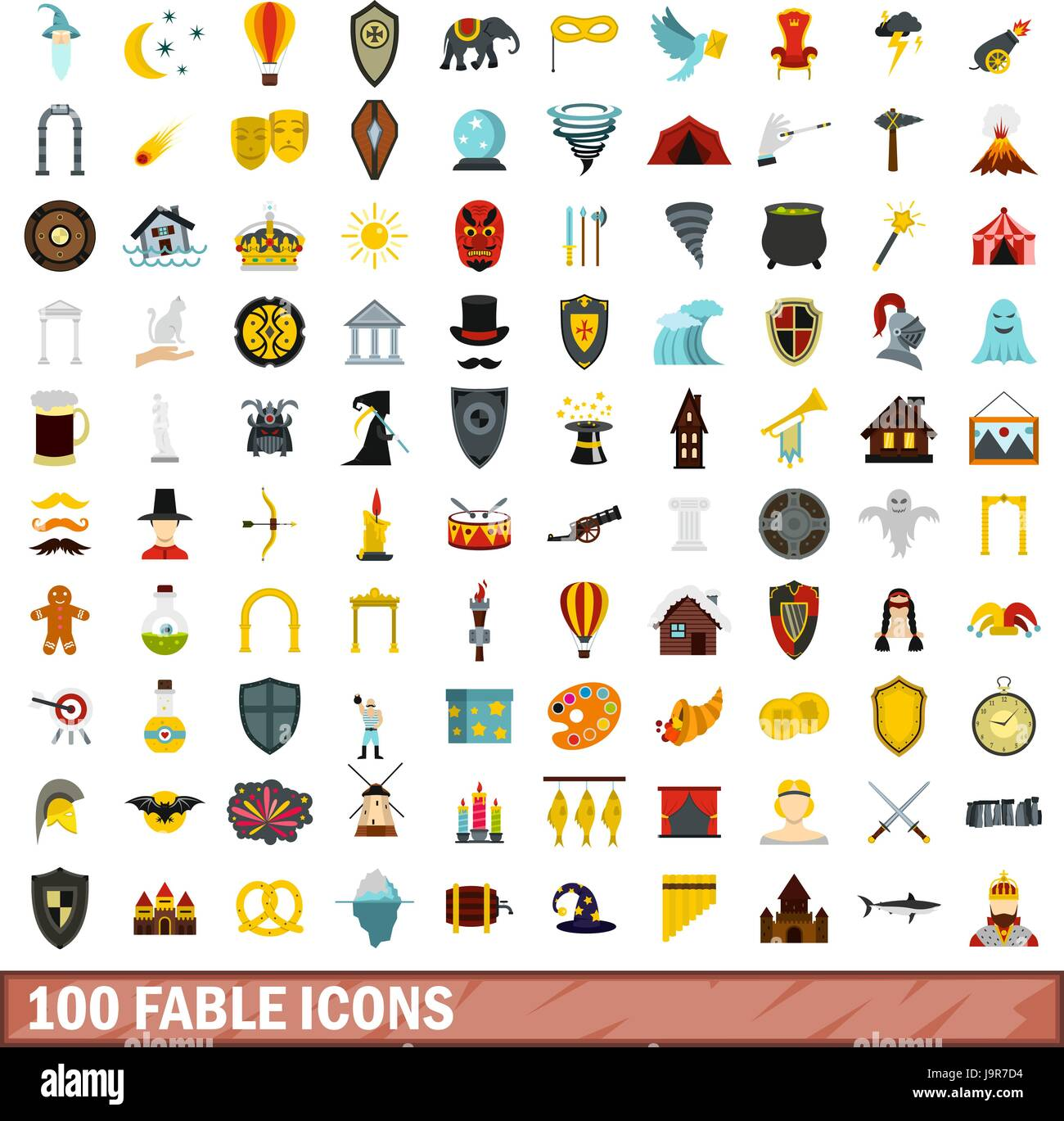 100 fable icons set, flat style - Stock Vector