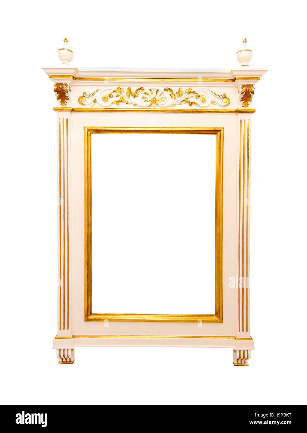 isolated, antique, rococo, frame, old, white, gold, framework, style ...