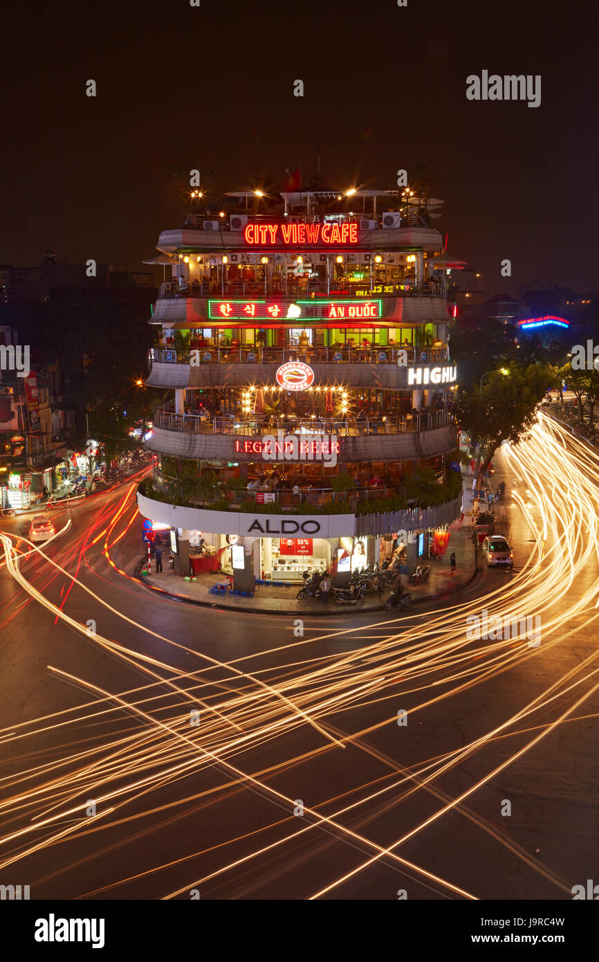 Bars restaurants and lights from traffic at busy intersection by bars restaurants and lights from traffic at busy intersection by hoan kiem lake and old quarter hanoi vietnam aloadofball Image collections