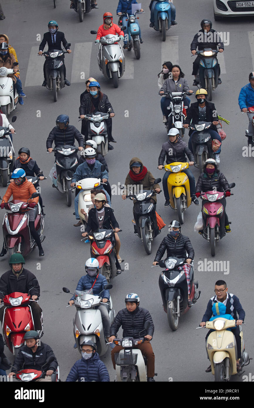 Busy street filled with motorcycles, Hanoi, Vietnam Stock Photo