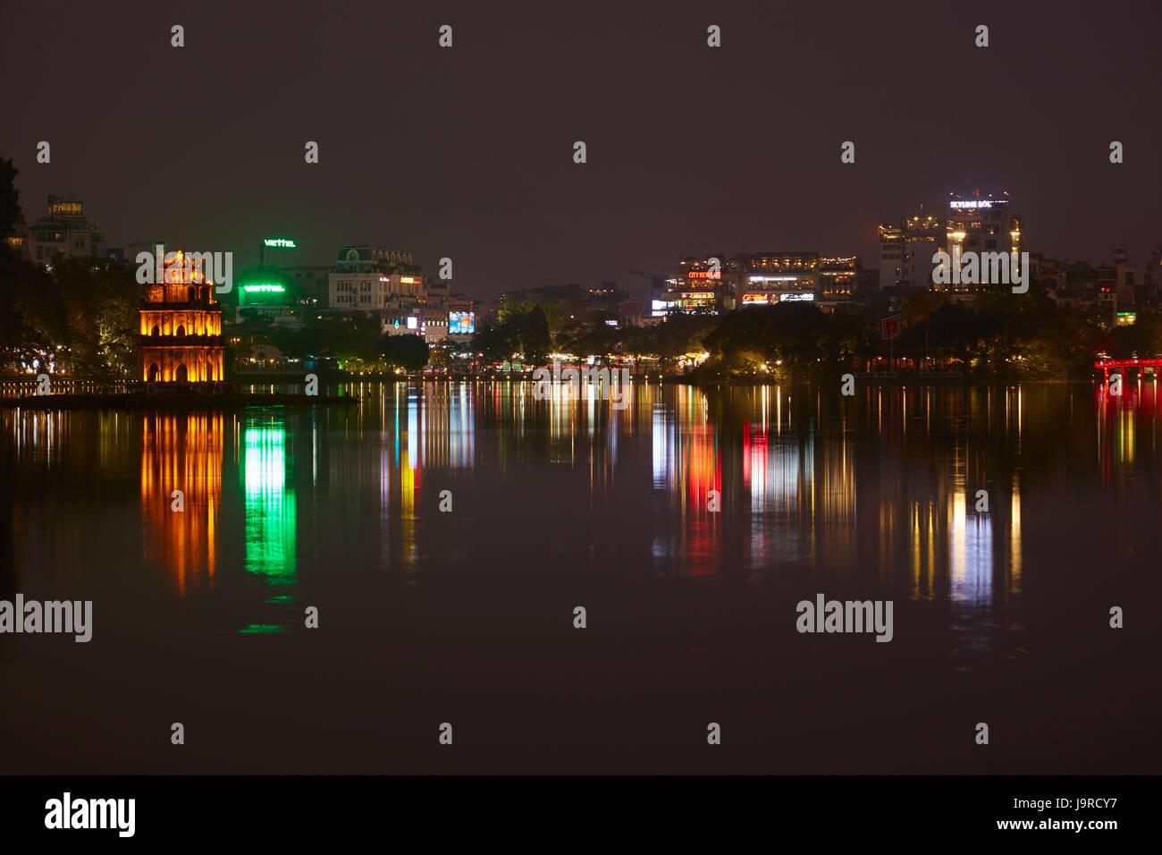 Turtle Tower at night, Hoan Kiem Lake, Hanoi, Vietnam - Stock Image