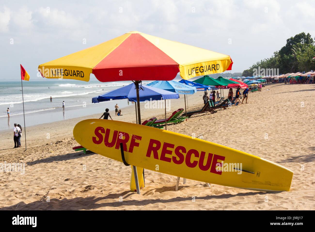 Lifeguard and surf rescue equipment, Kuta Beach, Bali, Indonesia - Stock Image