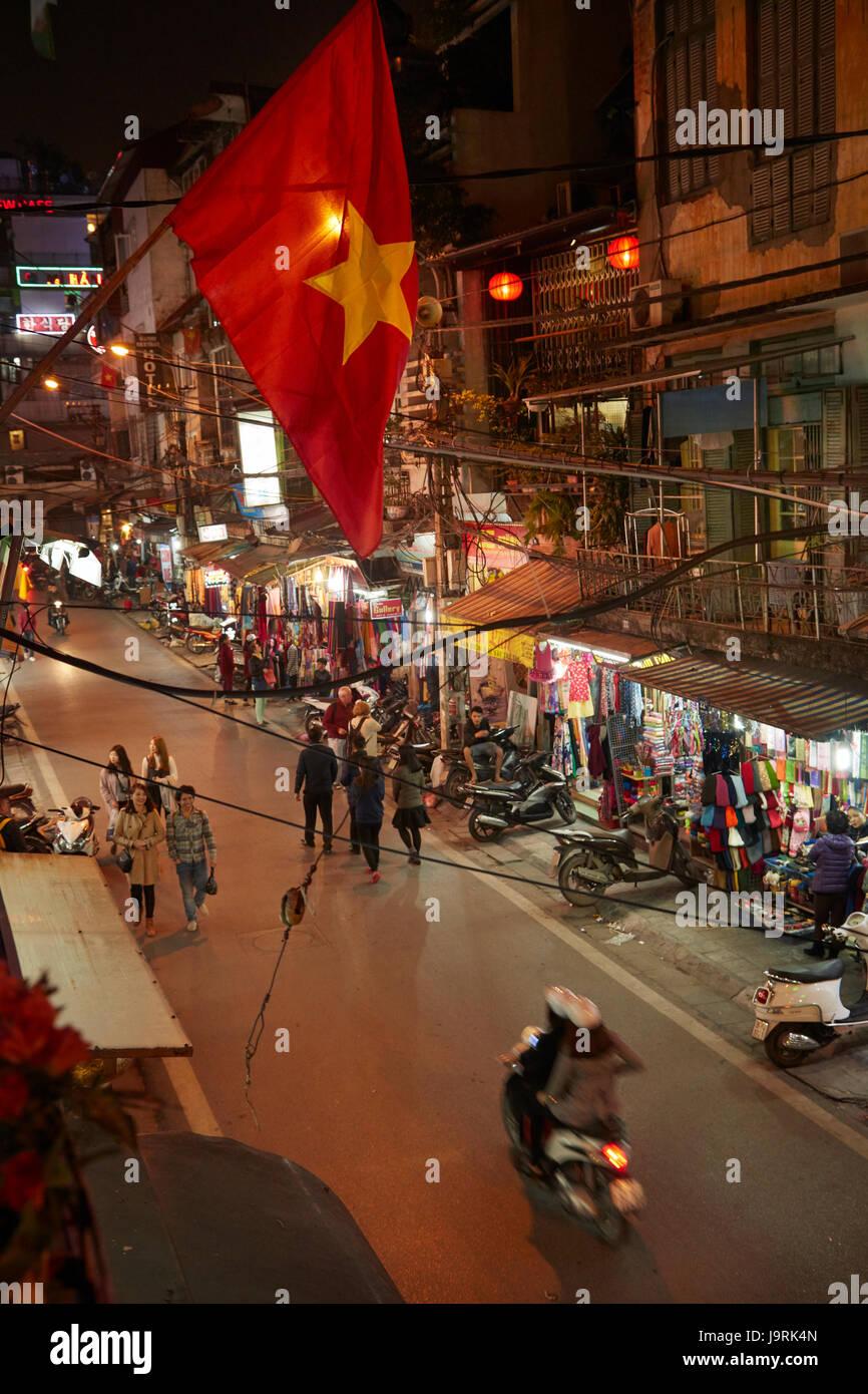 Night time street scene, Old Quarter, Hanoi, Vietnam - Stock Image