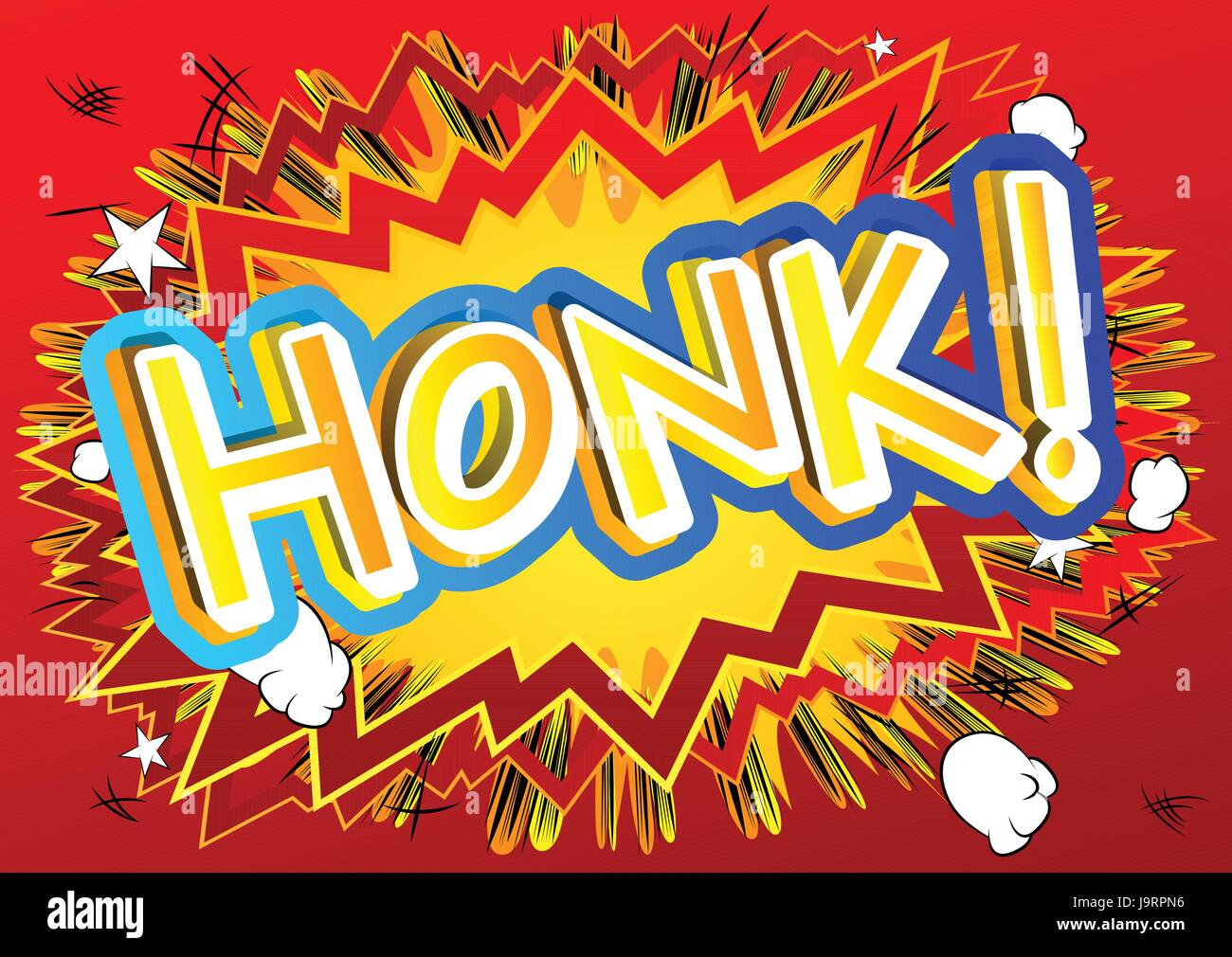 Honk! - Vector illustrated comic book style expression. - Stock Image