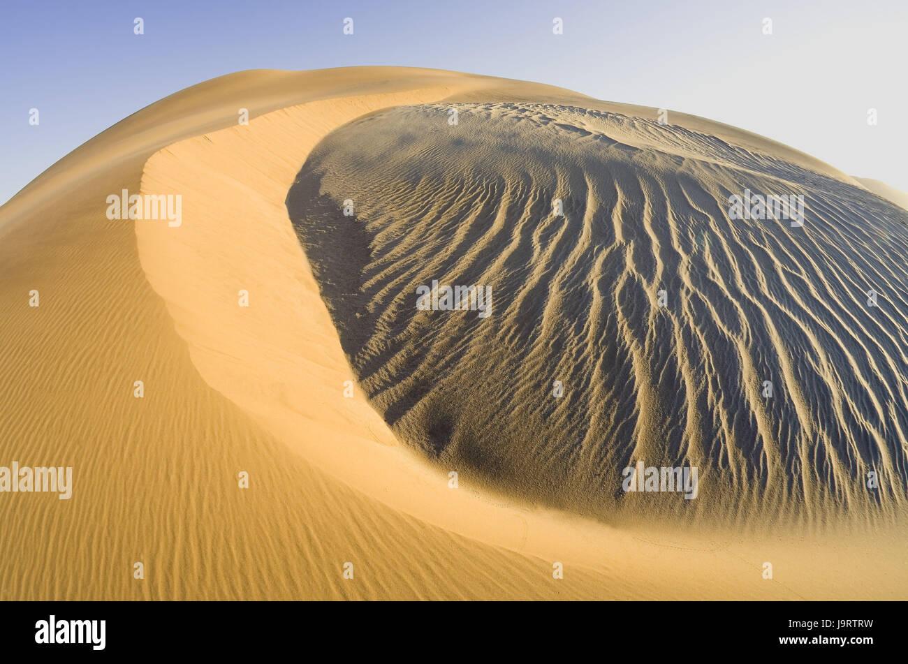 South-West Africa,Namibia,Namib desert,dune area,dune hilltop,older subsoil,Sandrippel,dark-coloured Anwehungen,gleams, - Stock Image