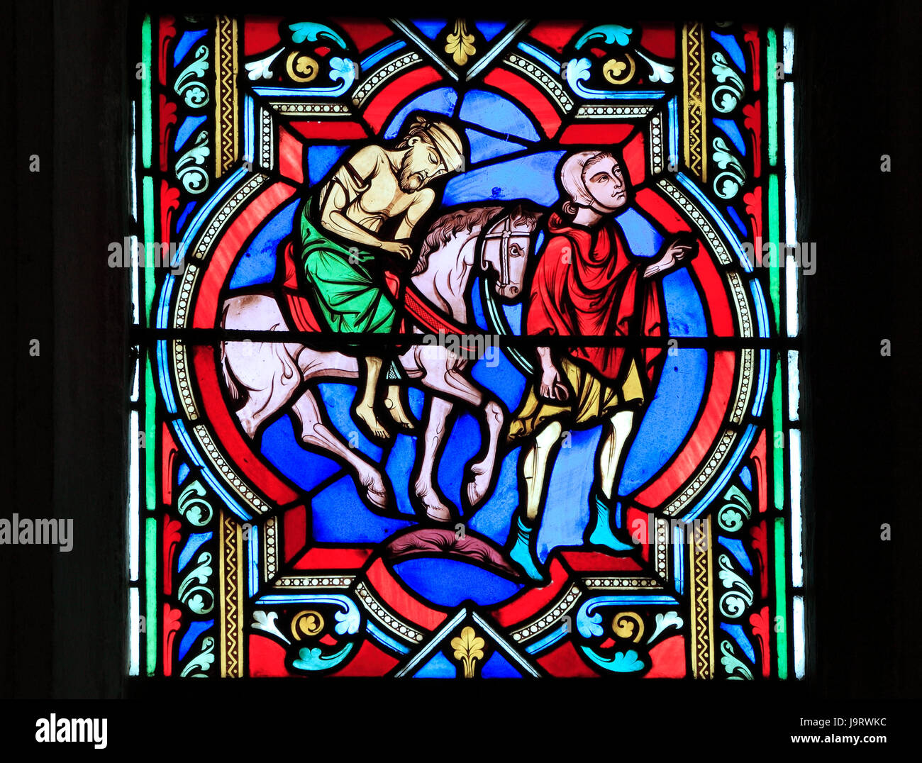The Good Samaritan Parable,  Samaritan carries the injured traveller on his horse, by Oudinot of Paris, 1859, Feltwell, - Stock Image