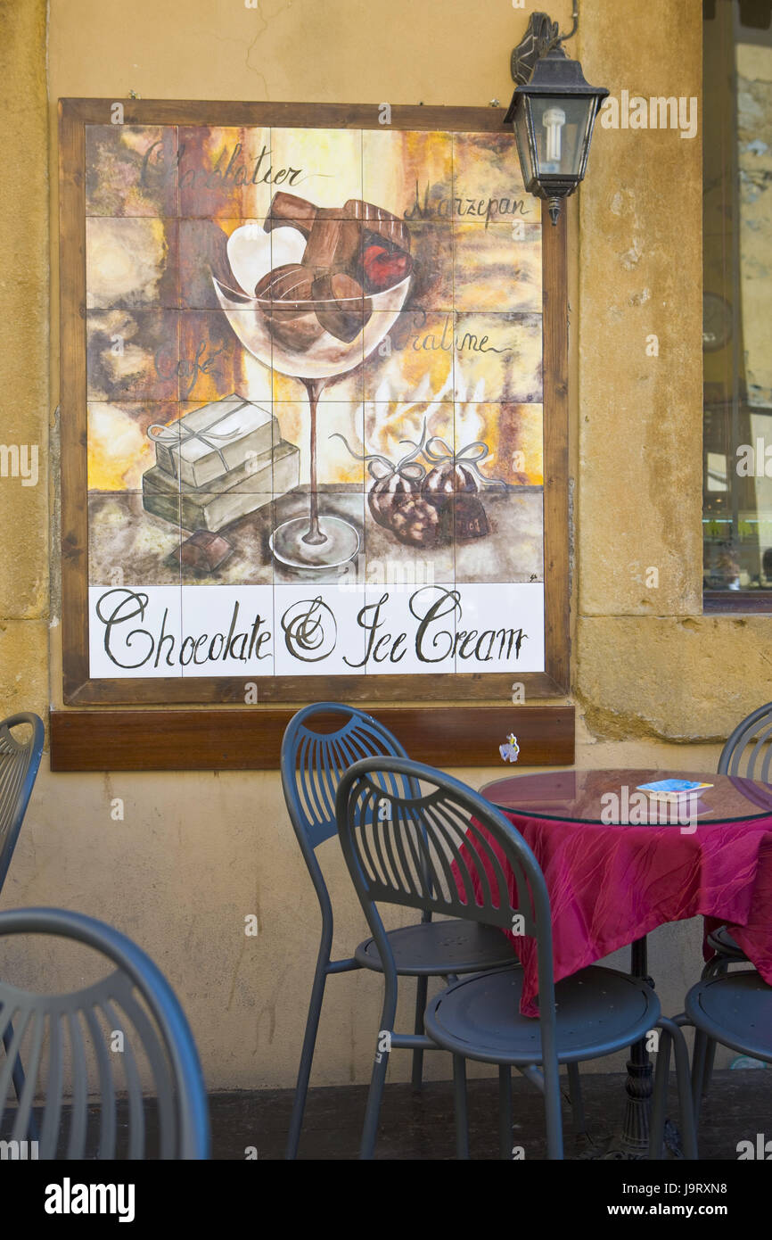 Italy,Tuscany,Volterra,street cafe,tile picture,advertisement,Europe,town,gastronomy,house,facade,wall,wall of a - Stock Image