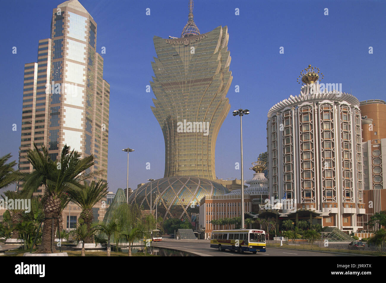 China,Macau,town view,Grand Lisboa hotel and casino,Asia,Eastern Asia,peninsula,town,building,architecture,hotel - Stock Image