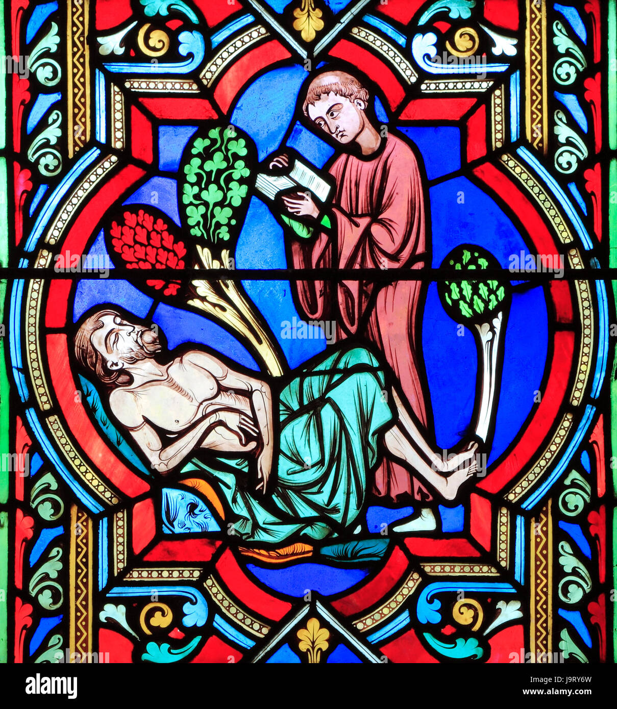 The Good Samaritan Parable, a Levite 'passes by on the other side', ignoring dying traveller, by Oudinot - Stock Image