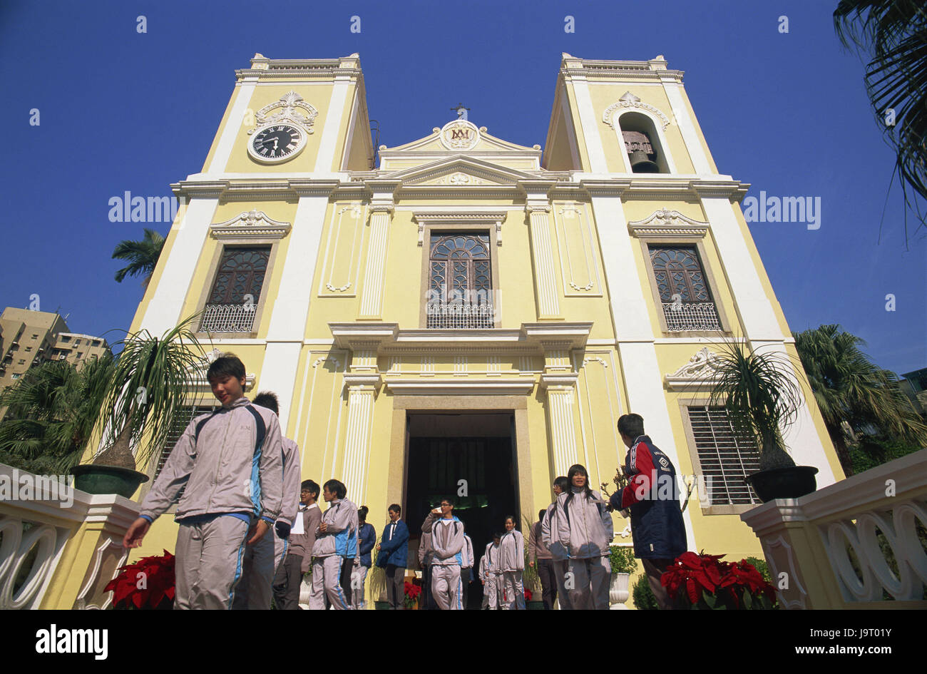 China,Macau,church piece Lawrence,believers,Asia,Eastern Asia,peninsula,town,building,architecture,outside,facade,steeples,church,sacred - Stock Image