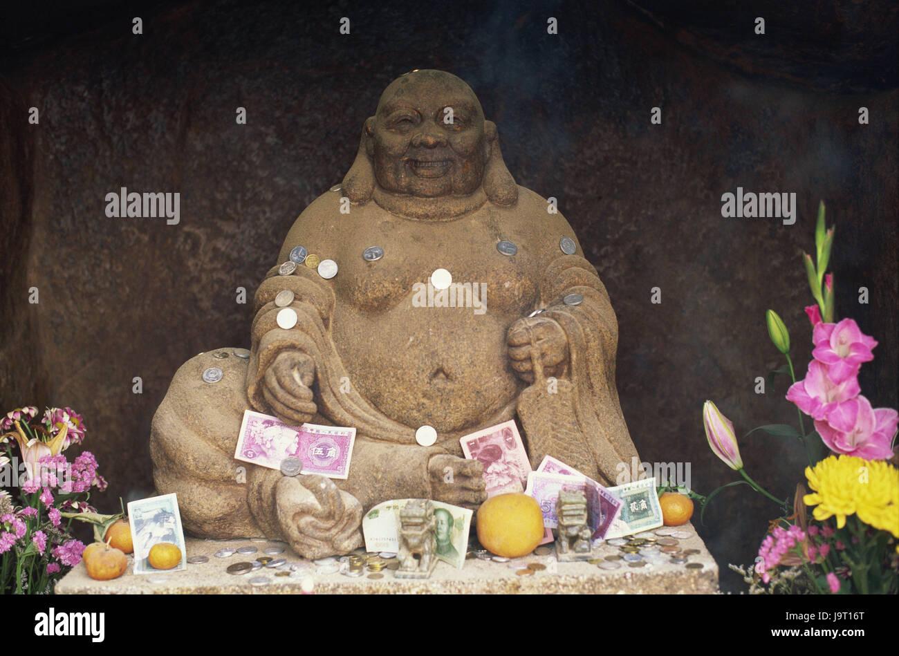 China,Macau,A mA Temple,Buddha,offering money,Asia,Eastern Asia,peninsula,town,faith,religion,Buddhism,statue,Buddha's - Stock Image