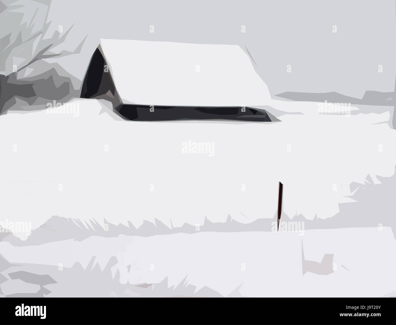 Illustration,winter scenery,steelworks,s/w,[M],computer graphics,kind,makes unfamiliar,scenery,rurally,house,barn,snowbound,snow - Stock Image