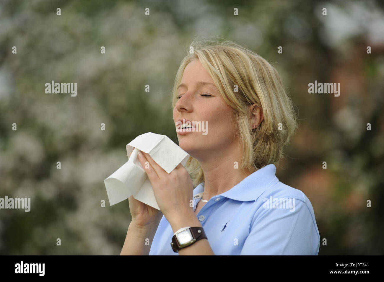 Woman,young,sneeze,pollinosises,handkerchief,portrait,at the side,polling allergy,allergy,polling,polling flight,icon - Stock Image