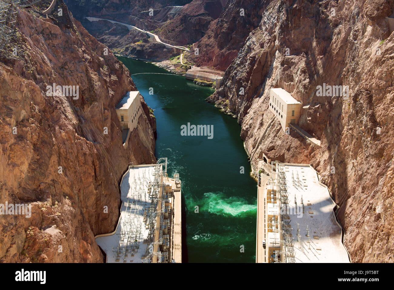 Hoover Dam, on the Nevada-Arizona border, USA - Stock Image