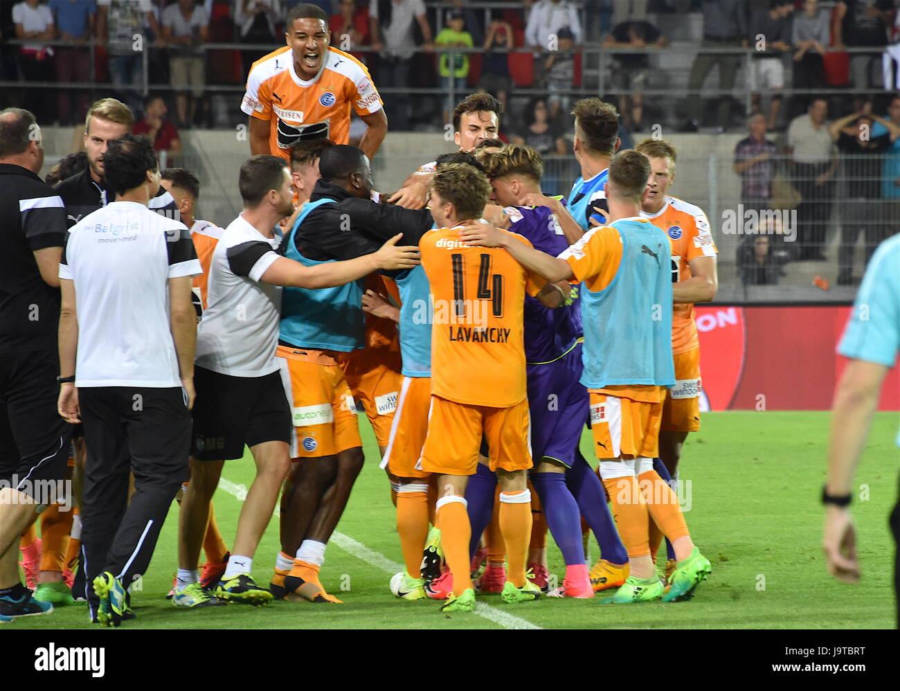 Sion, 02.06.2017, Football Raiffeisen Super League, FC Sion - Grasshoppers Club Zurich, GC very happy 1:1 Lucas - Stock Image