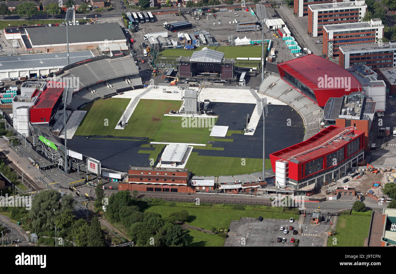 Manchester, UK. 3rd June, 2017. Aerial view of the One Love Manchester Concert venue in preparation for Sunday's - Stock Image