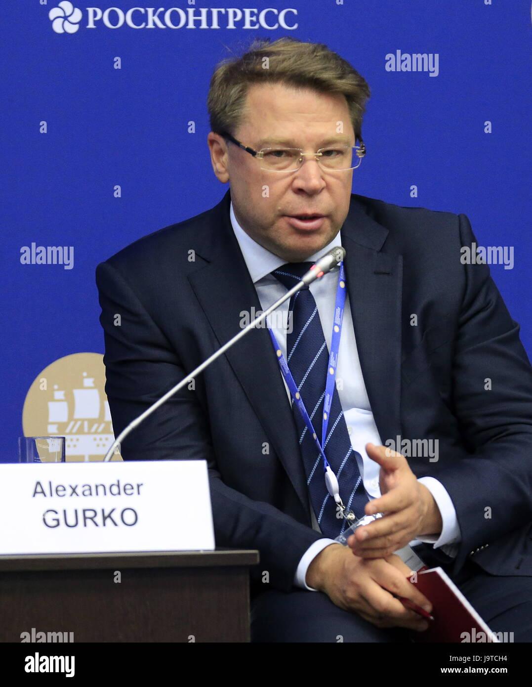 St Petersburg, Russia. 3rd June, 2017. Alexander Gurko, President of the Non-commercial Partnership for Development - Stock Image