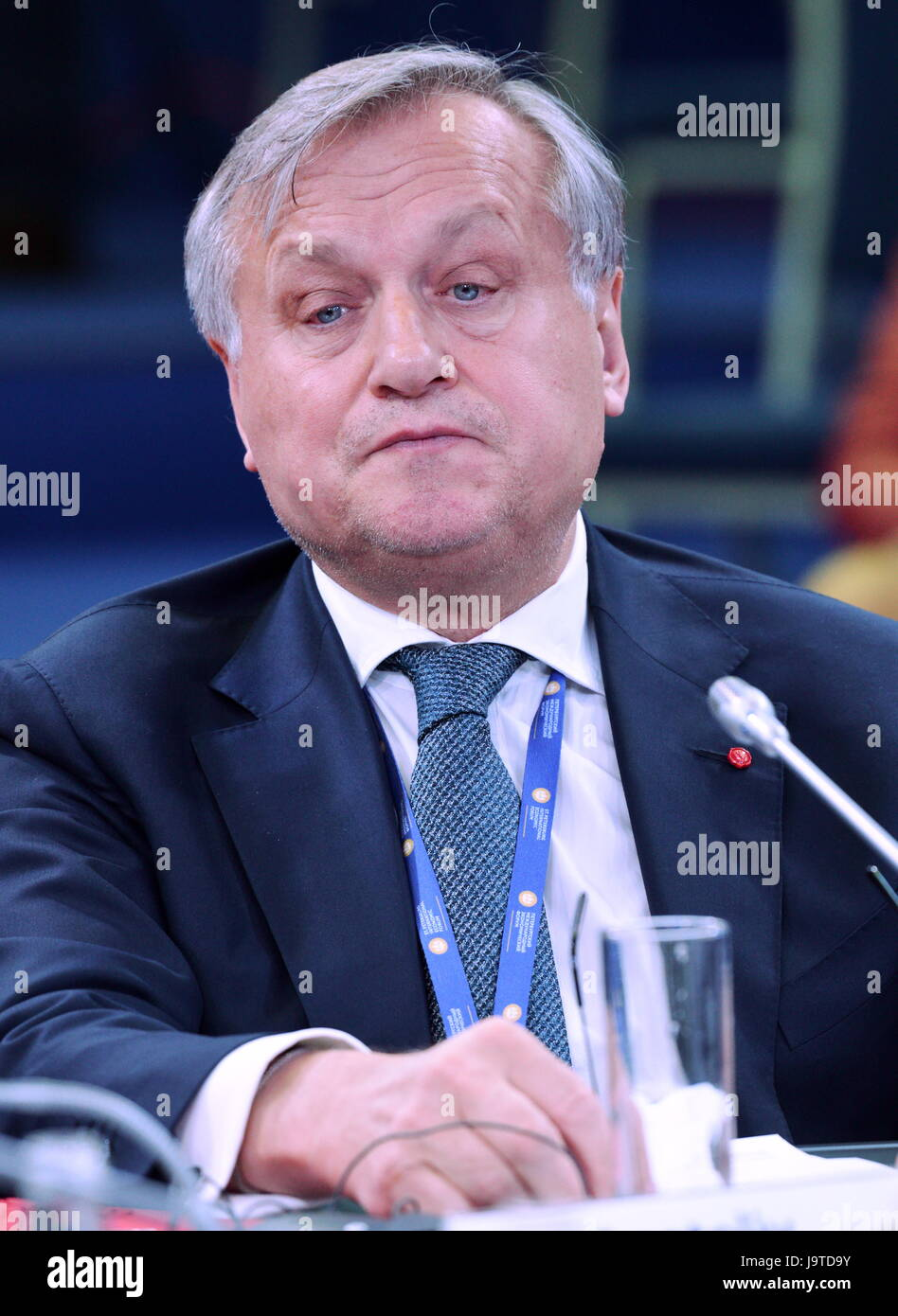 St Petersburg, Russia. 3rd June, 2017. Anatoly Usov, Regional Director for Russia & CIS at SKF, at a panel session - Stock Image