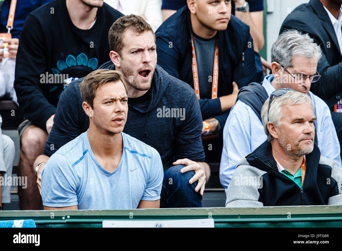 Paris, France, June 3rd 2017: US-Basketball-Pro David Lee during the 3rd round match of danish player Caroline Wozniacki Stock Photo