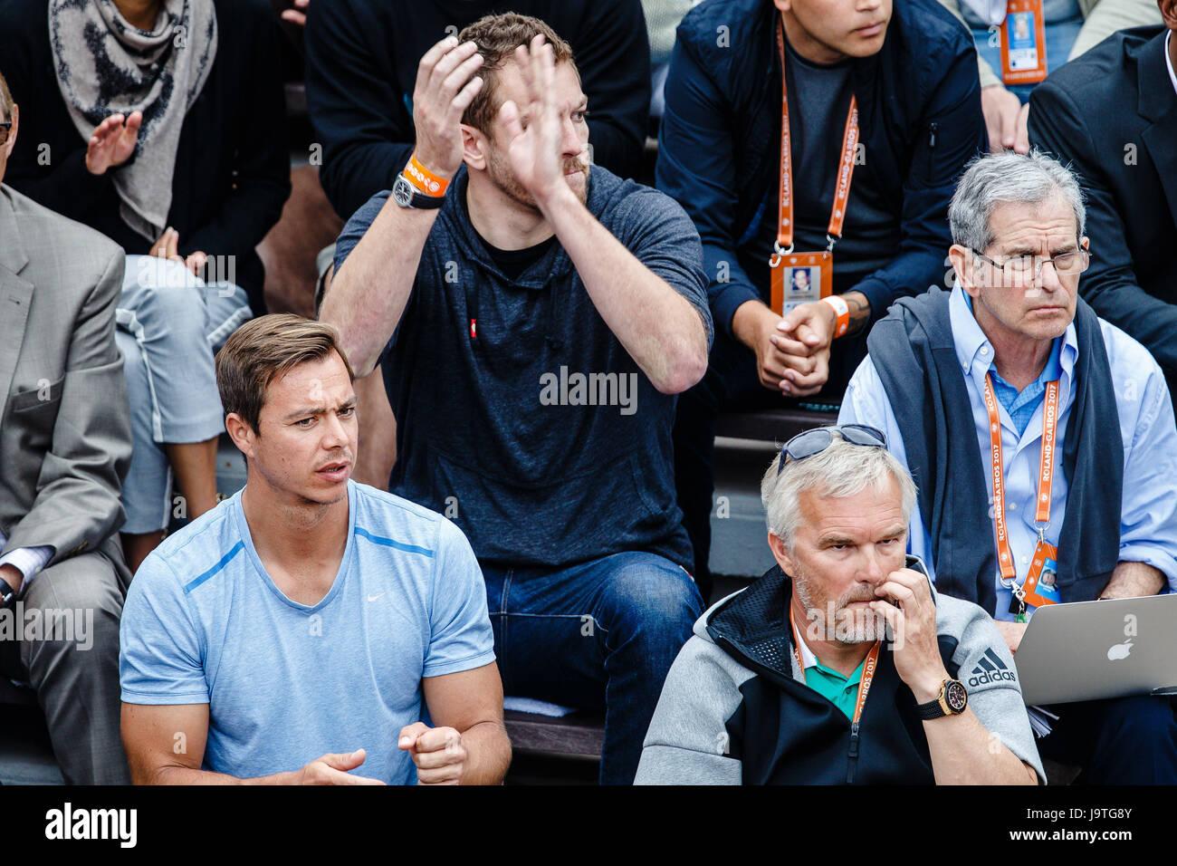 Paris, France, June 3rd 2017: US-Basketball-Pro David Lee during the 3rd round match of danish player Caroline Wozniacki Stock Photo