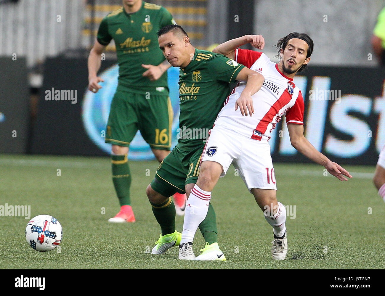 June 02, 2017. Portland Timbers midfielder Sebastian Blanco (10) and San Jose Earthquakes midfielder Jahmir Hyka - Stock Image