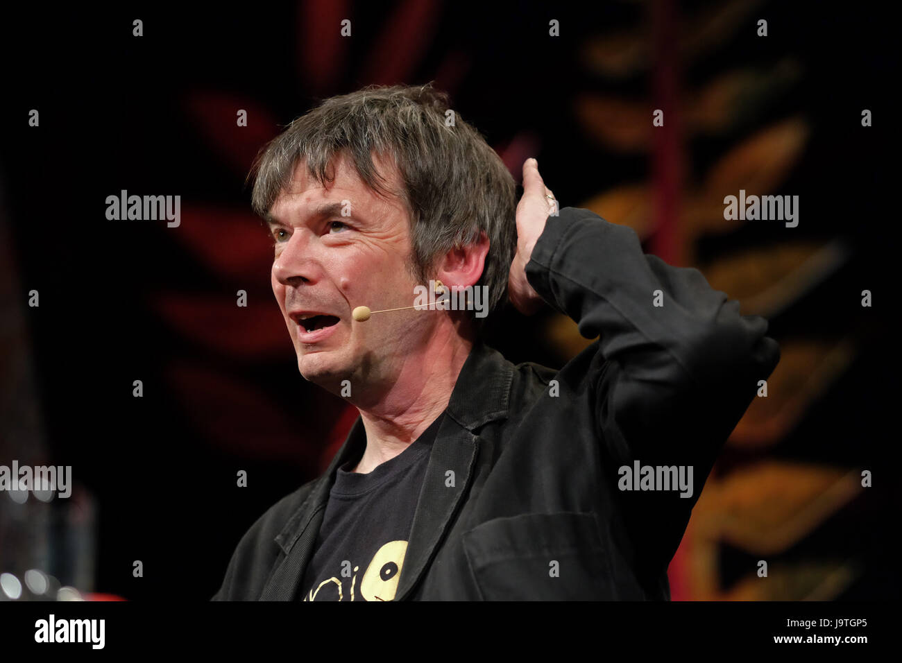 Hay Festival 2017 - Hay on Wye, Wales, UK - June 2017 - Author Ian Rankin on stage at the Hay Festival talking about - Stock Image