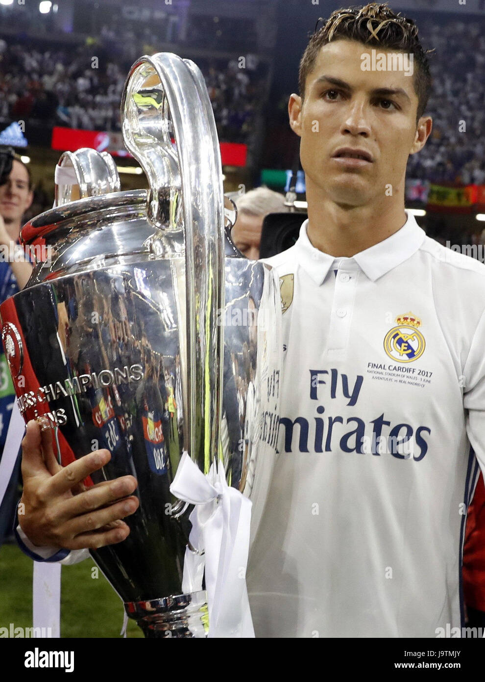 Real Madrids Cristiano Ronaldo Poses With The Trophy After UEFA Champions League Final Match Between Juventus And Madrid At Millenium Stadium