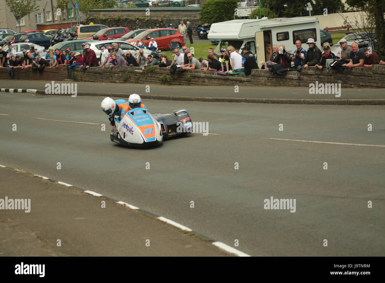 Isle of Man TT Races, Sidecar Qualifying Practice Race, Saturday 3 June 2017. Sidecar qualifying session. Number - Stock Image