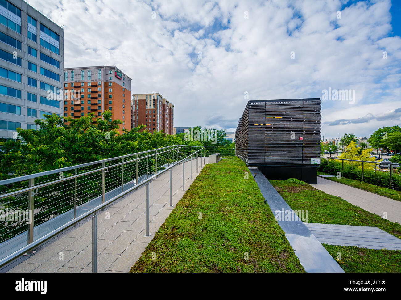 Elevated platform at Canal Park in the Navy Yard neighborhood of Washington, DC. Stock Photo