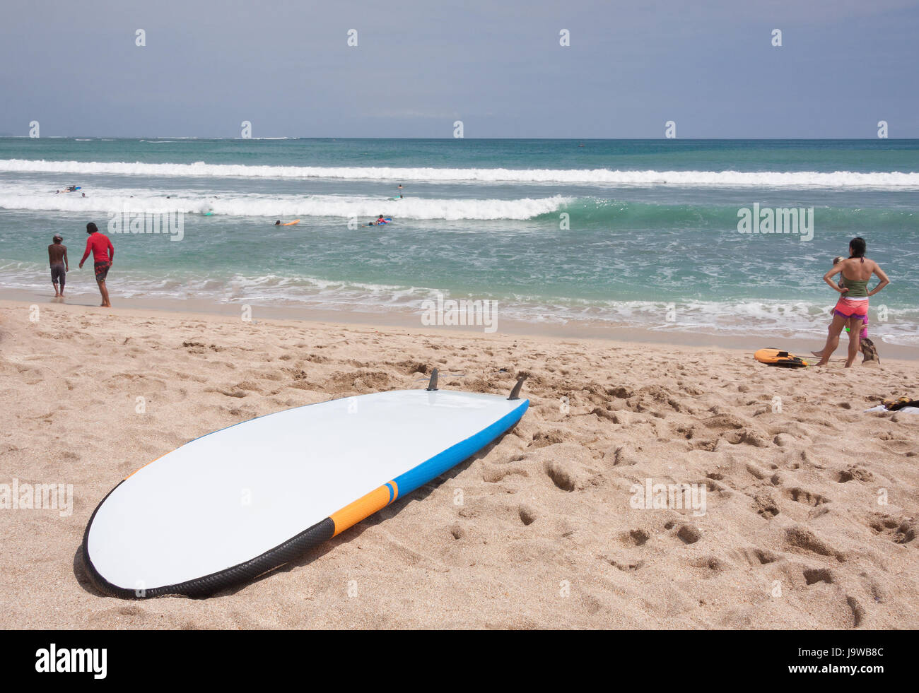 Surfboards on the famous beach on Kuta in Bali Indonesia - Stock Image