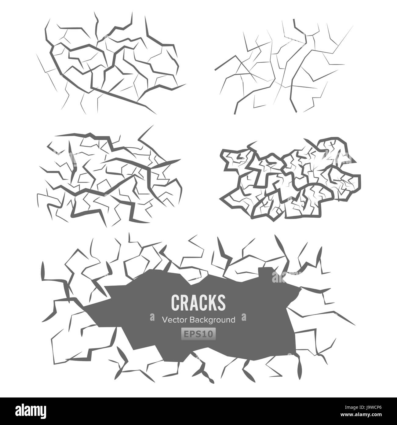 Cracks In The Ground Vector. 3D Illustration Isolated on white - Stock Image