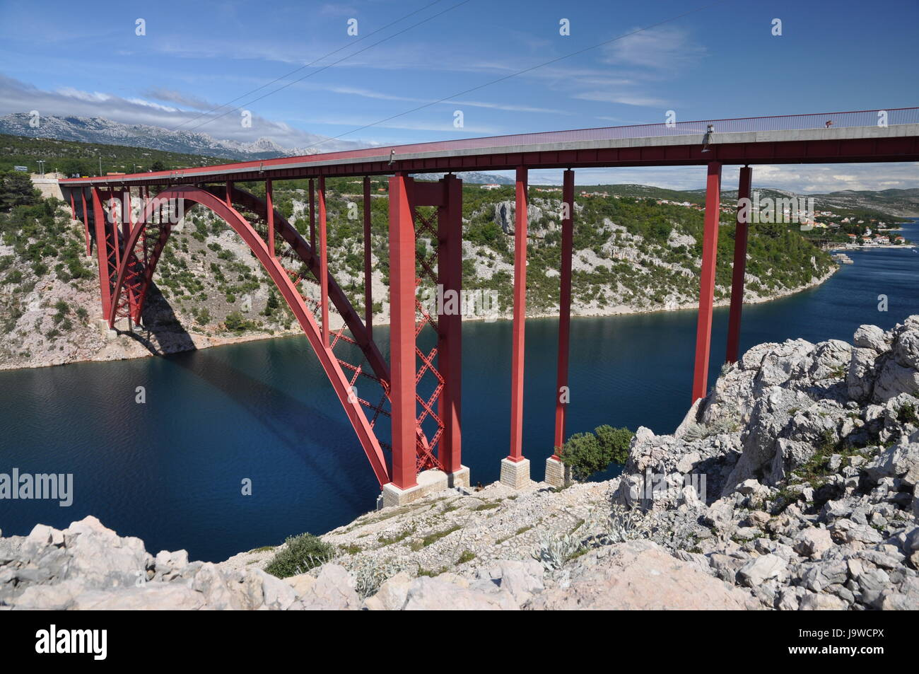 bridge, valley, croatia, red, traffic, transportation, road traffic, bay, Stock Photo