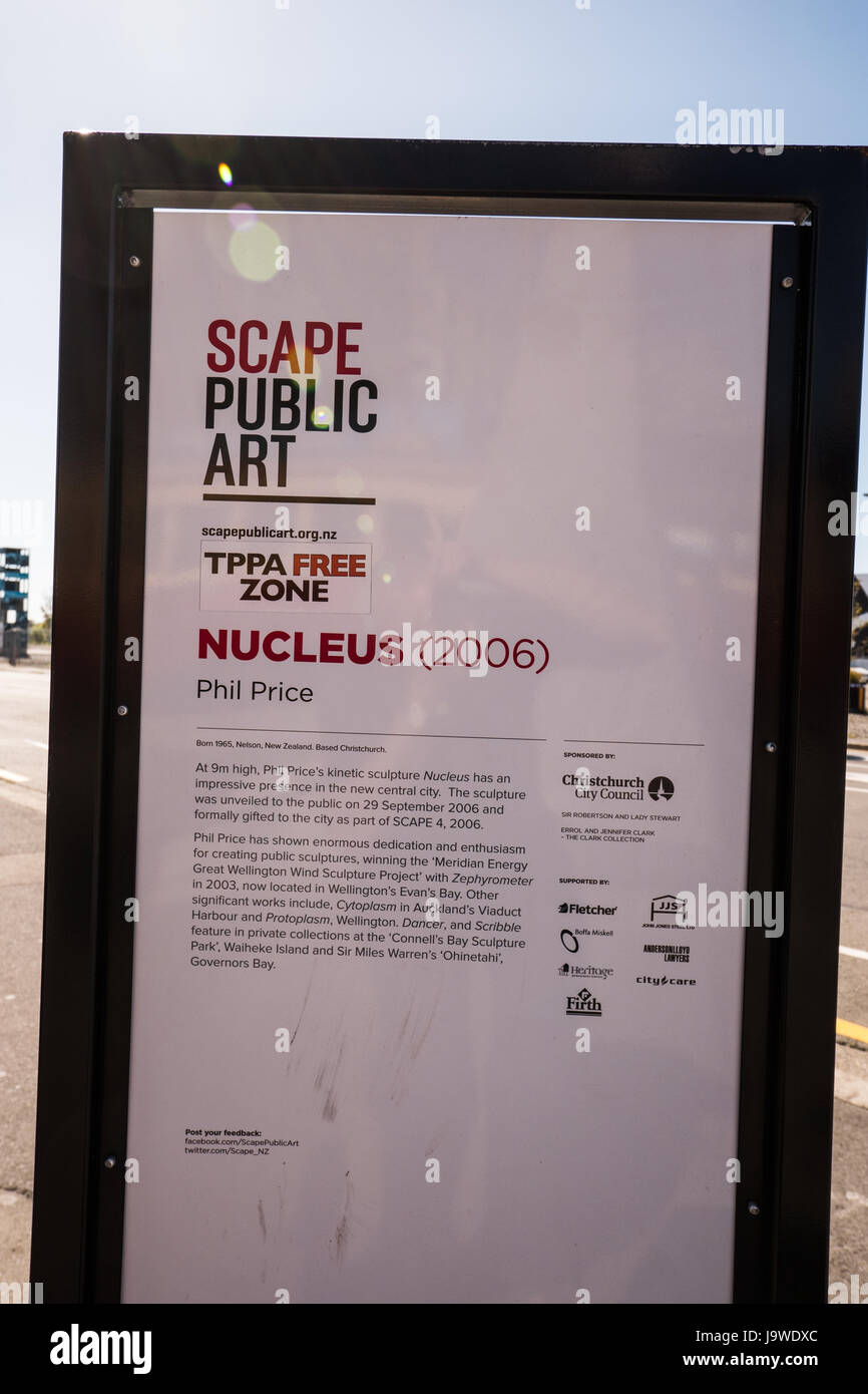 Information relating to the public art piece named Nucleus by Phil Price displayed in Christchurch, New Zealand. - Stock Image