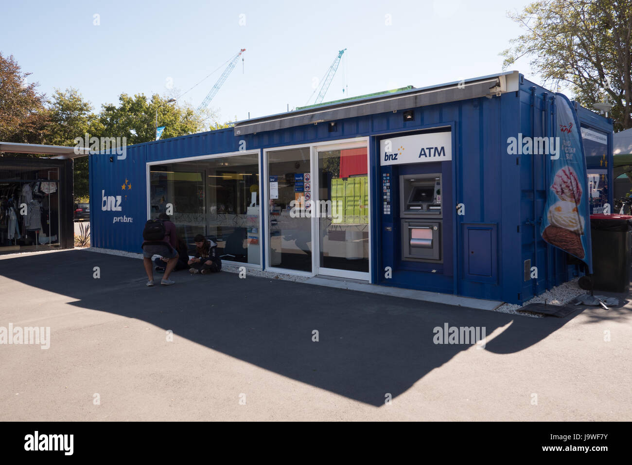 Old shipping containers used as temporary shops and buildings after the 2011 earthquake, Christchurch, New Zealand. - Stock Image