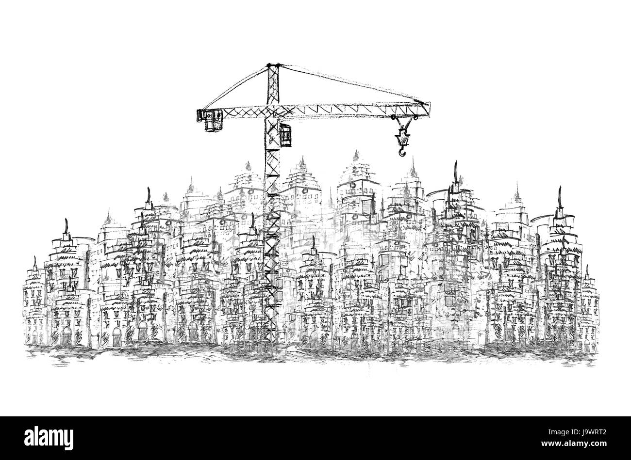 sketching of construction project - Stock Image