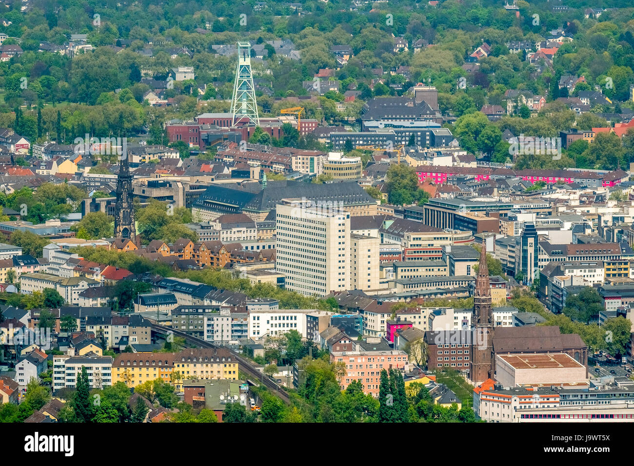 Old justice district and mining museum with winding tower, Bochum, Ruhr area, North Rhine-Westphalia, Germany - Stock Image