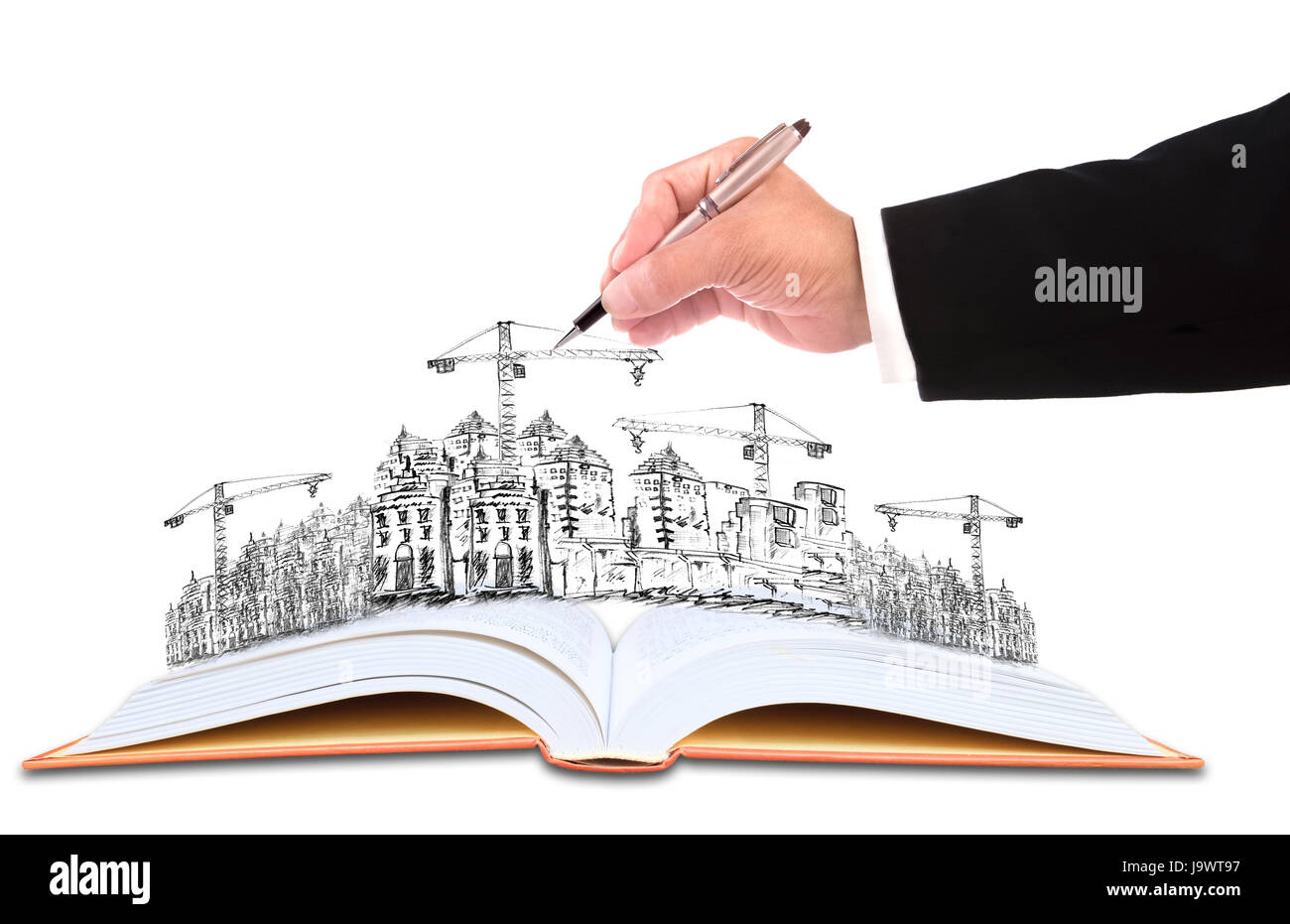 hand of businessman writing on sketching of  building construction for construction business theme - Stock Image