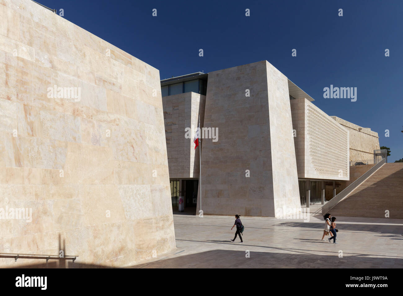 Valletta City Gate, modern city gate and parliament building, architect Renzo Piano, Valletta, Malta - Stock Image