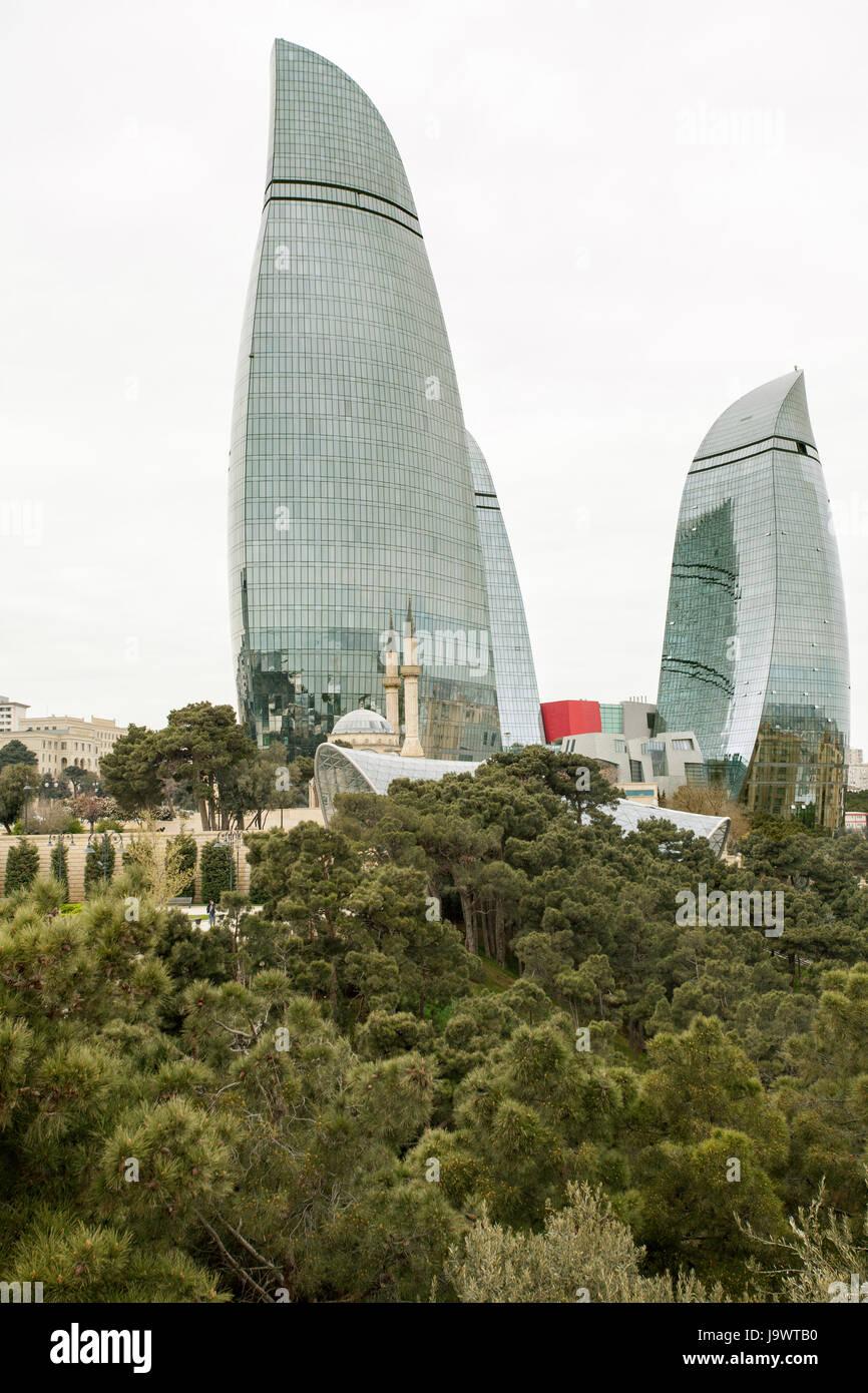 Baku flame towers, view from Dağüstu Park, Baku, Azerbaijan - Stock Image