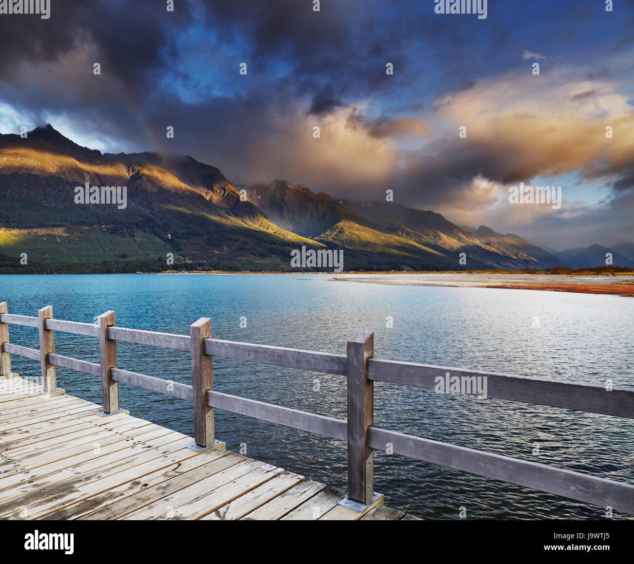 Wakatipu Lake at sunrise, Glenorchy, New Zealand - Stock Image