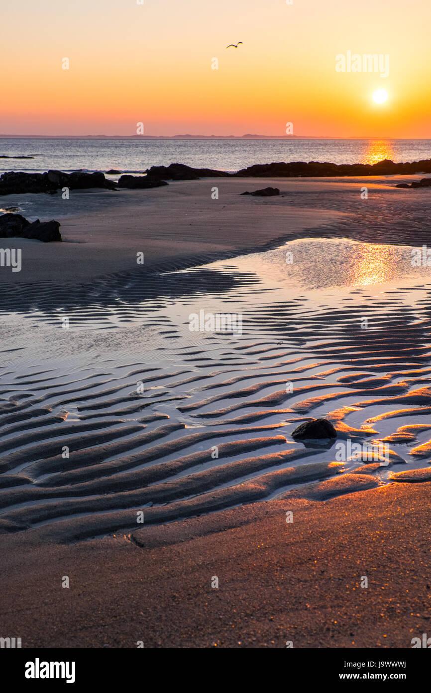 Sunset , Langamull beach on the north coast of Mull, Scotland - Stock Image