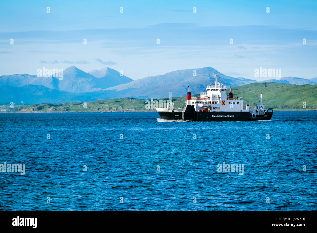 The Caledonian MacBrayne ( Cal Mac) ferry en route from Oban to Craignure on the island of Mull, Scotland - Stock Image
