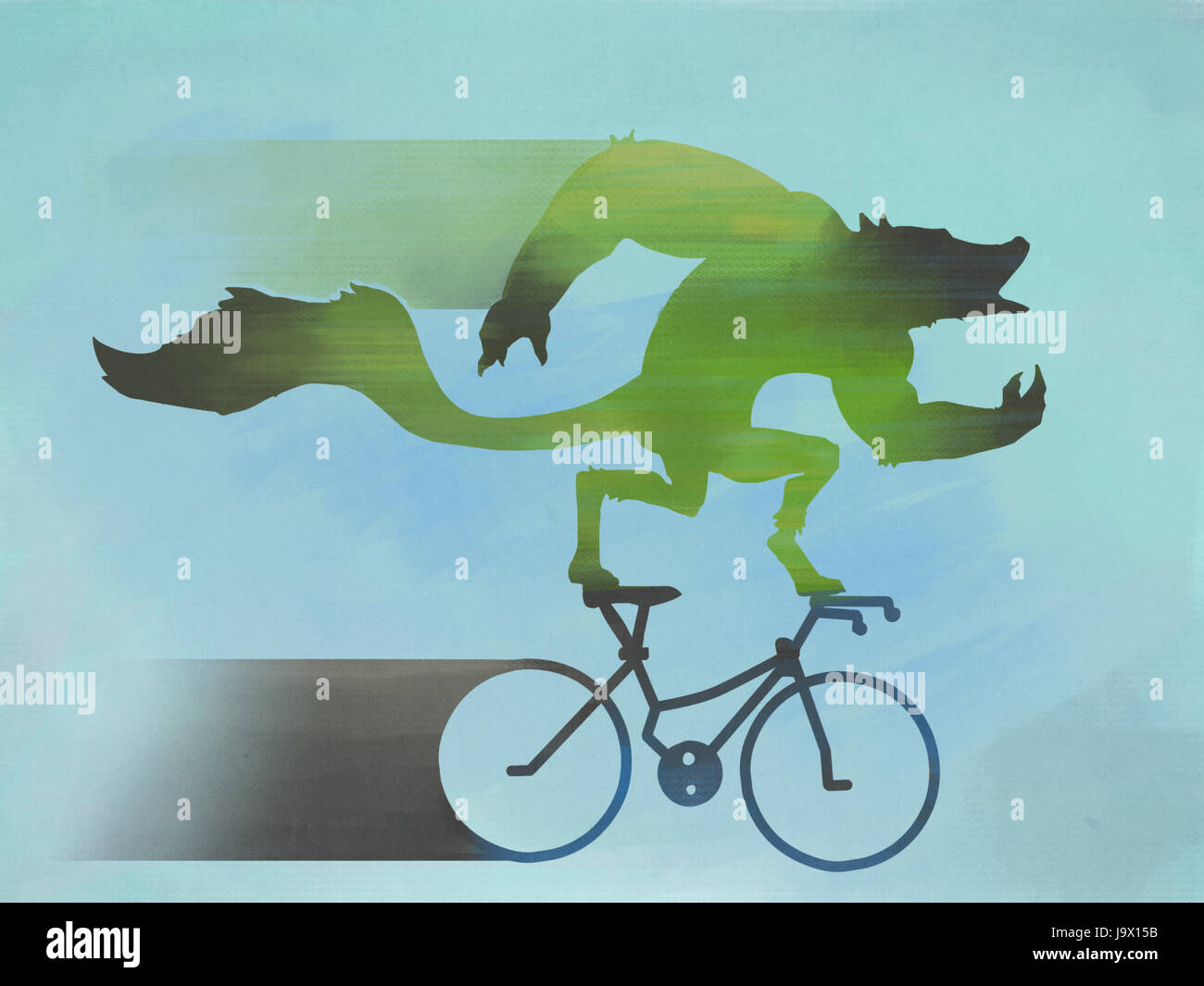 A green Werewolf howls as he rides past quickly on his bicycle - Stock Image