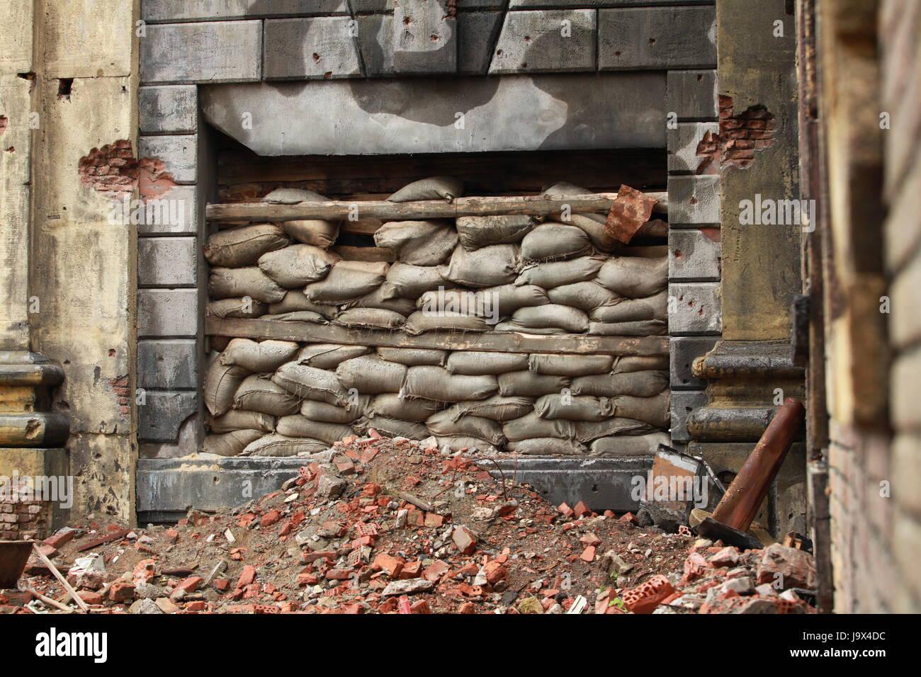 War barricade of bags per the window - Stock Image