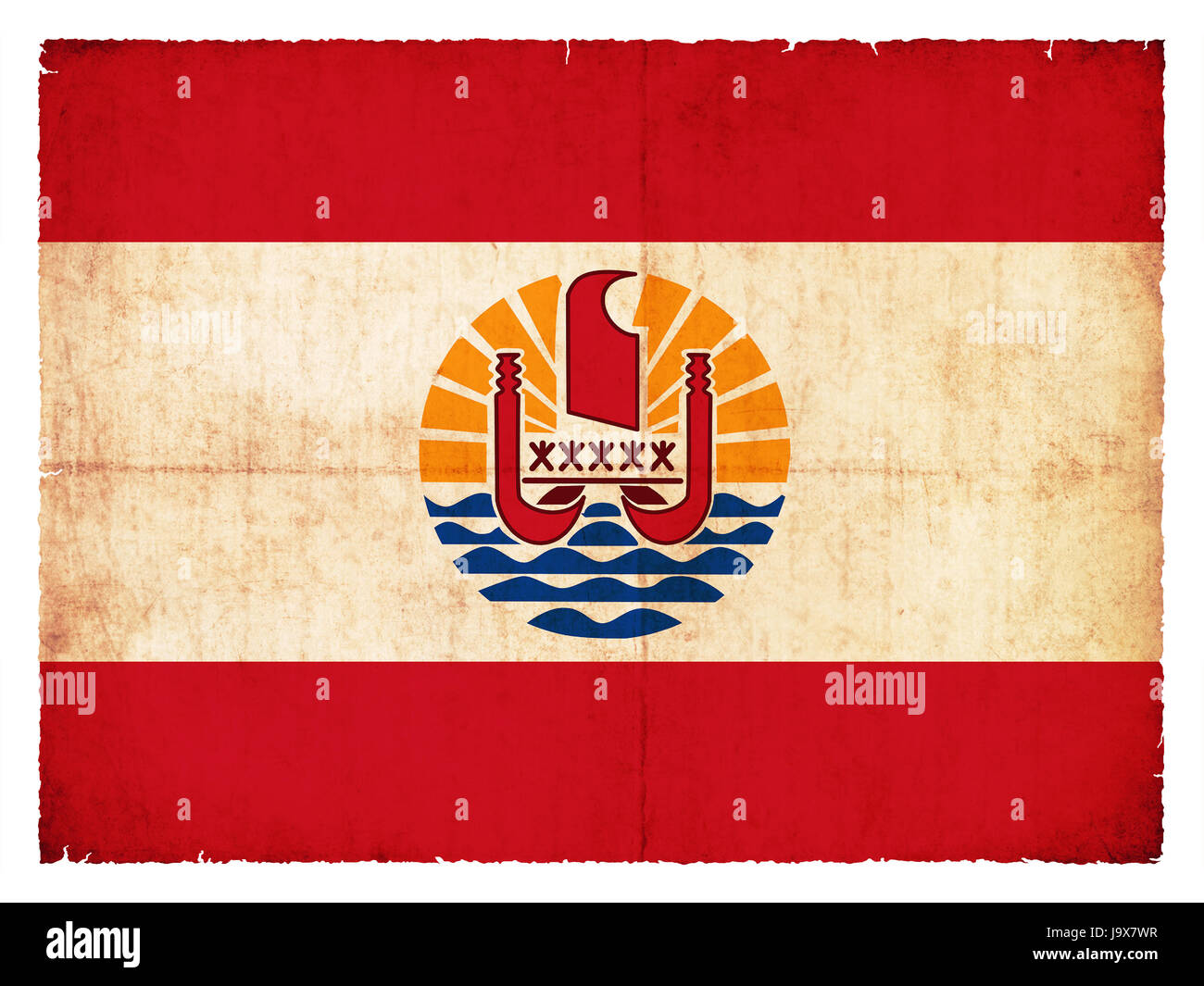 flag, style, old, antique, colony, france, flag, soils, the South Seas, - Stock Image
