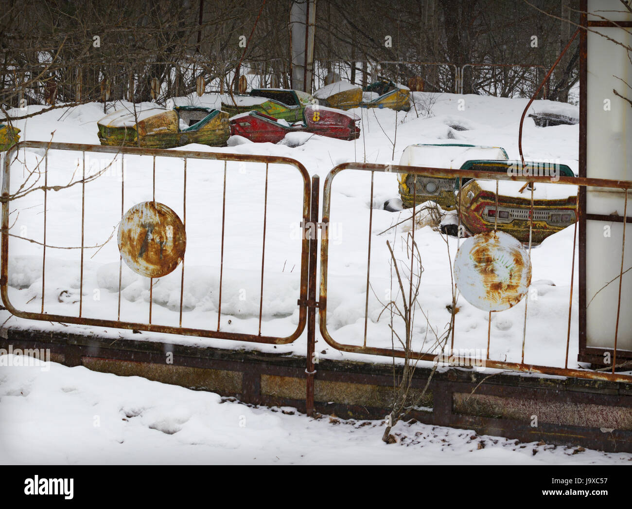 General view of Pripyat, the abandoned city near Chernobyl on March 15, 2013 in Pripyat, Ukraine. A nuclear disaster - Stock Image