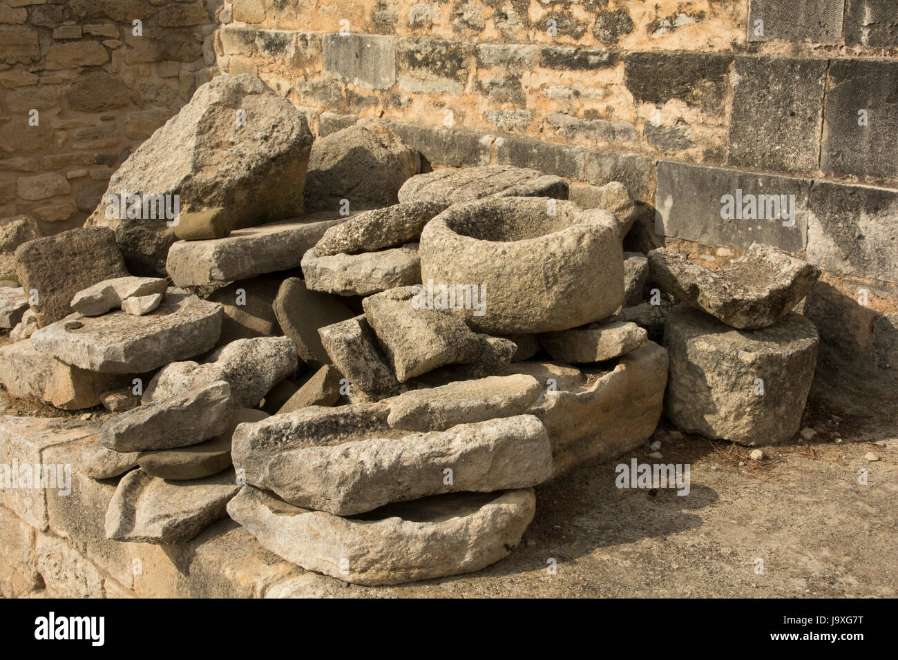 Phaistos was an Minoan palace and city iin southern central Crete with settlements starting around 4000 BC and lasting for around 4000 years. Stock Photo